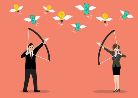 Businessman with a bow and arrow hitting the money fly. Business concept