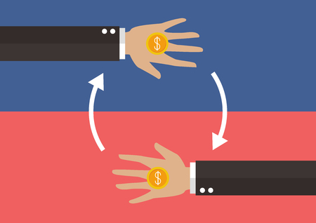 beg: Transferring Money and payment. vector illustration Illustration