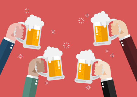 clinking: People clinking beer glasses. concept of cheering people party celebration