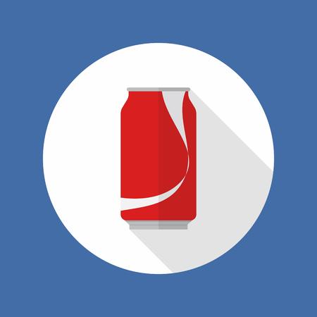 tin: Cola tin flat icon with long shadow