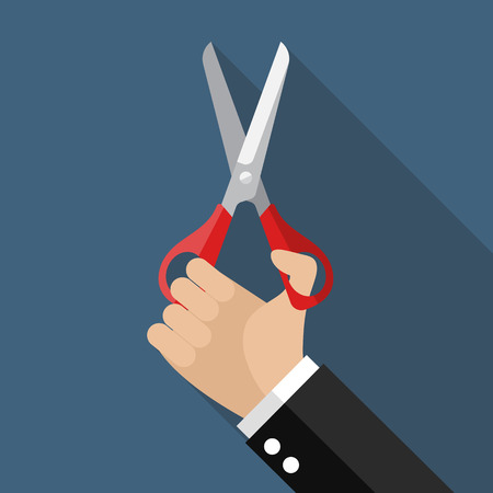 pair of scissors: Hand holding a pair of scissors. Vector illustration Illustration