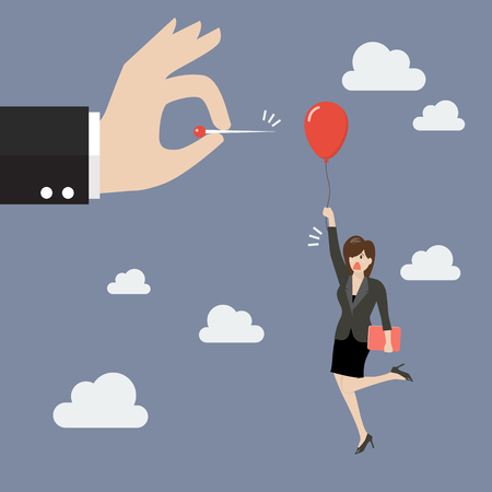 envy: Hand pushing needle to pop the balloon of woman. Business competition concept Illustration