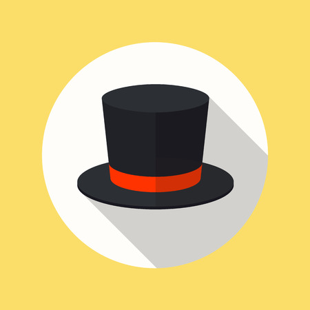 Top hat flat icon with long shadow Illustration