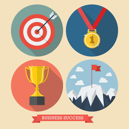 conquest: Business success flat style icons. Vector illustration Illustration