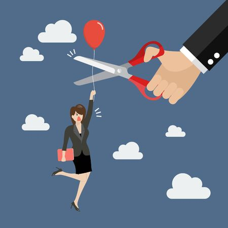 business rival: Hand cutting rival balloon string with scissors. Business concept Illustration