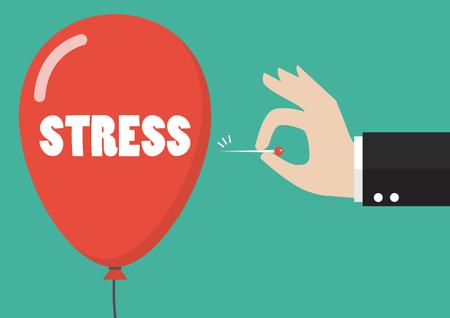 Hand duwende naald om de stressballon op te springen. Bedrijfsconcept