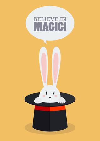 abracadabra: Magic top hat with rabbit. Vector Illustration Illustration