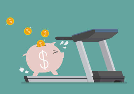 overweight: Piggy bank running on a treadmill. Business concept