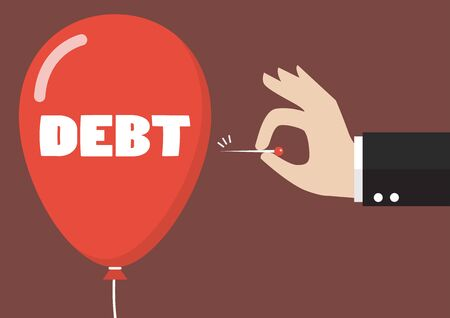 hinder: Hand pushing needle to pop the debt balloon. Business concept
