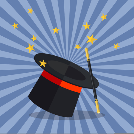 magician wand: Magician Hat with Magician Wand. Vector illustration