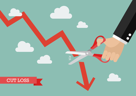 graph down: Business man cutting graph down. Business cut loss concept