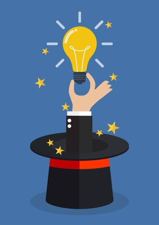 Hand hold light bulb coming out of magic hat. Vector Illustration Illustration