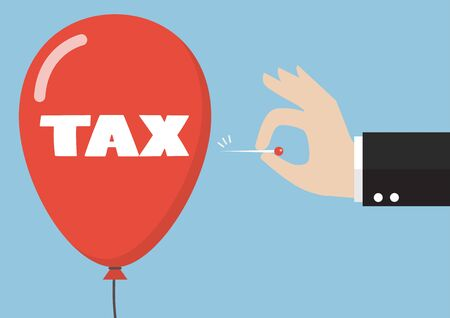 hinder: Hand pushing needle to pop the tax balloon. Business concept