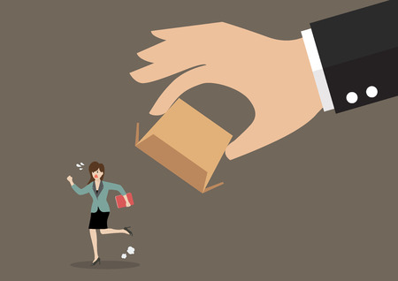 detain: Business woman running away from cardboard box. Business concept