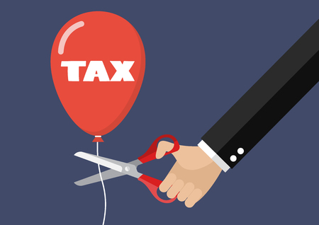 reduce risk: Big hand cutting tax balloon string with scissors. Business concept
