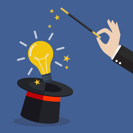 Business hand with lightbulb idea. Vector illustration