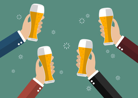 Businessmen toasting glasses of beer. Concept of cheering people party celebration Illustration