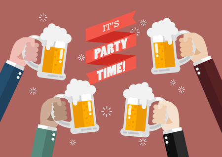 clinking: Party Time. People clinking beer glasses. Illustration