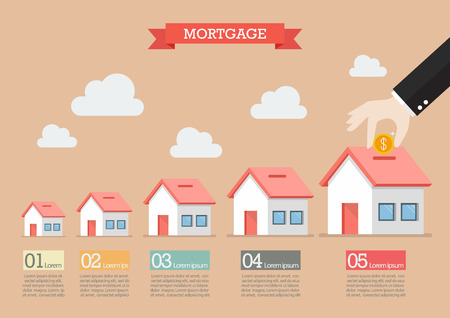 to collect: Hand collect the money in house piggy bank infographic. Vector illustration