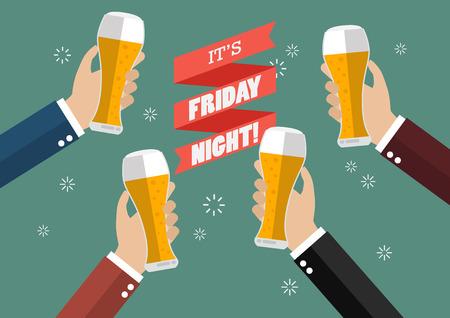 grasp: Friday Night Party celebration. Vector Illustration Illustration