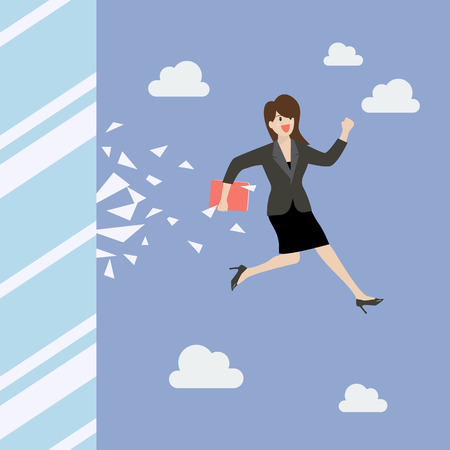woman jump: Business woman jump and broke glass window. Business concept