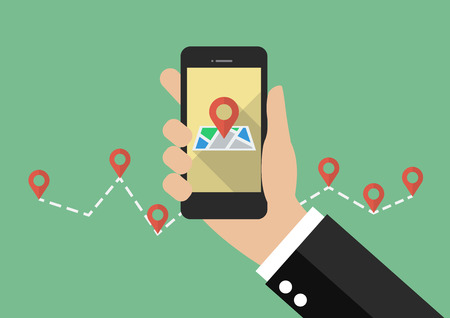Hand holds smartphone with city map gps navigator. vector illustration