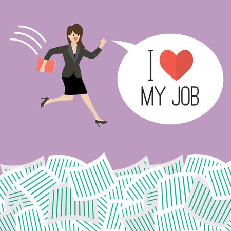 woman jump: Business woman jump into a lot of documents with word I love my job. Business concept Illustration