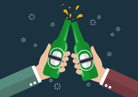 Two businessmen toasting bottle of beer. Vector Illustration