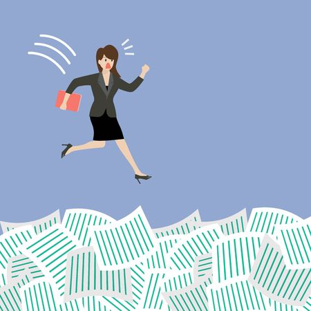 Business woman jump into a lot of documents. Business concept