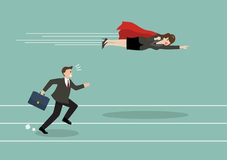 Business woman superhero fly pass his competitor. Business competition concept Ilustração