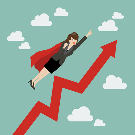 Business woman super hero with growing graph. Business concept