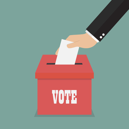 elect: Businessman hand putting paper in the ballot box. Voting concept