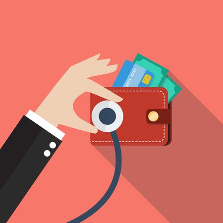 checkup: Wallet financial checkup. Business concept