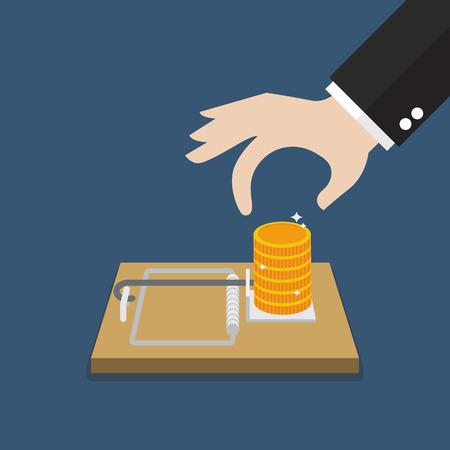 entrapment: Businessman hand pick money from mousetrap. Business concept Illustration