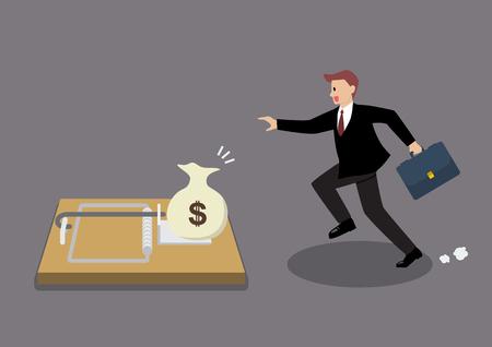 Businessman essayer de prendre l'argent de souricière. Concept d'affaire