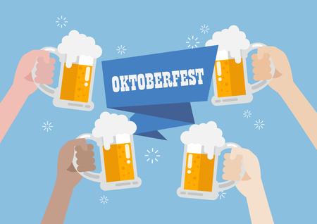 clinking: Oktoberfest. People clinking beer glasses.