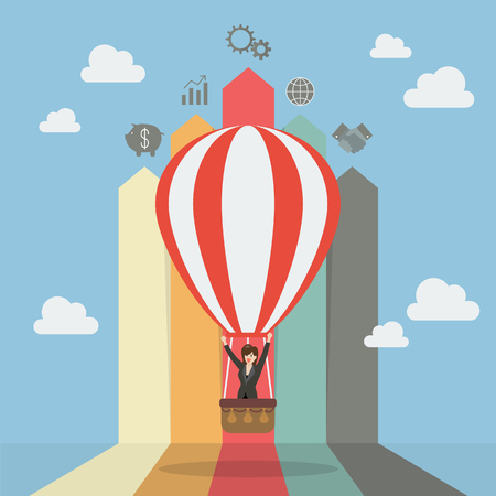 hot woman: Business woman on hot air balloon with arrow bar chart. Business concept