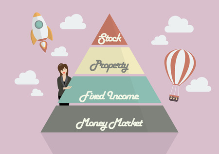allocation: Business woman presenting the Pyramid chart of asset allocation. Flat Style Design