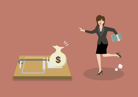 entrapment: Business woman try to pick money from mousetrap. Business concept