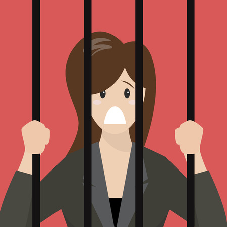 jailbird: Business woman in prison. Business concept Illustration