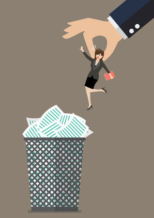 woman boss: Boss throws a business woman in the trash can. Business concept