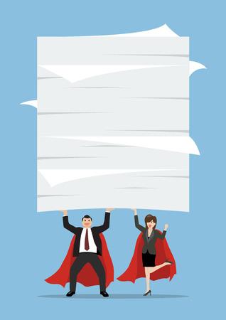 Hombre y mujer de superhéroes levantando una gran cantidad de documentos. Concepto de negocio