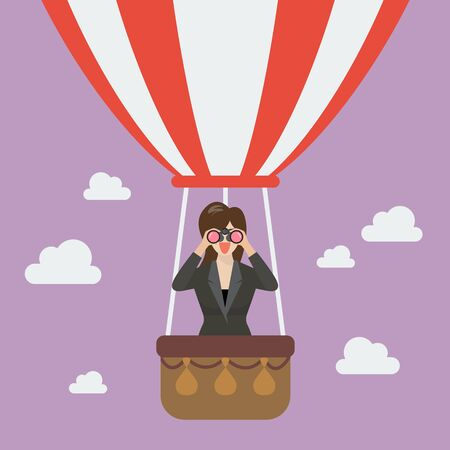 Businessman use binoculars looking for business on hot air balloon. Business vision concept Illustration