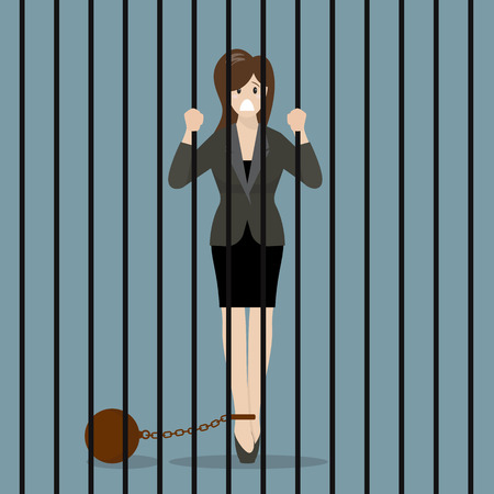 jailbird: Business woman with weight in prison. Business concept