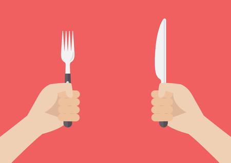serving utensil: Hand holding grilled sausage on the fork. Vector illustration