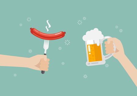 Hand holding grilled sausage on the fork and hand with glass of beer. vector illustration