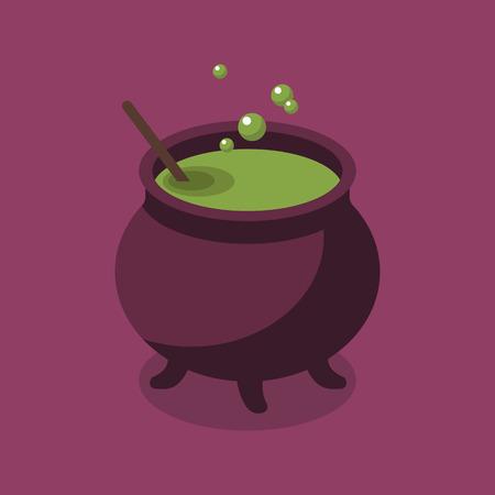 witchery: Witch Pot. Halloween Flat Icon