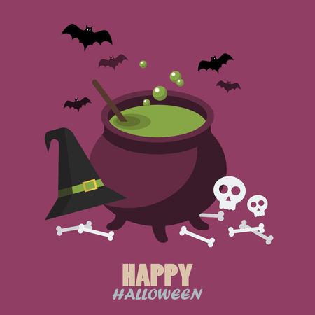 chowder: Happy halloween flat style. Greeting card