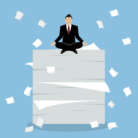 overload: Businessman meditating on a lot of documents. Vector Illustration