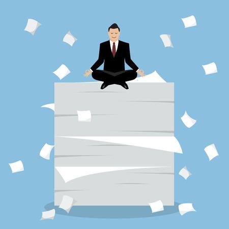 Businessman meditating on a lot of documents. Vector Illustration